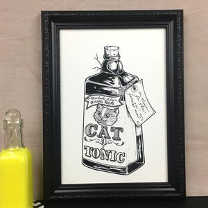 Cat A Tonic Illustration Art Print - drawings & illustrations