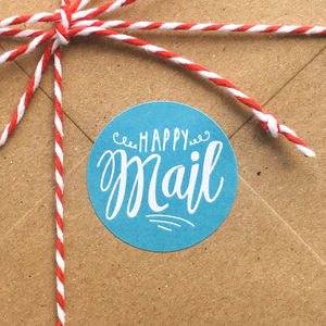 'Happy Mail' Mail Day Gift Stickers - cards & wrap