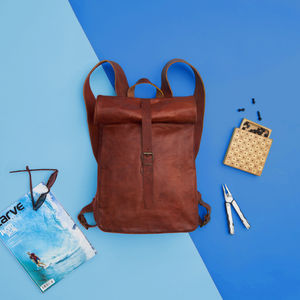 Rolltop Leather Backpack - bags & purses