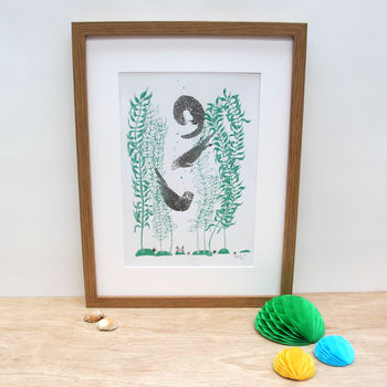 'Otters And Kelp' A Two Colour Art Print