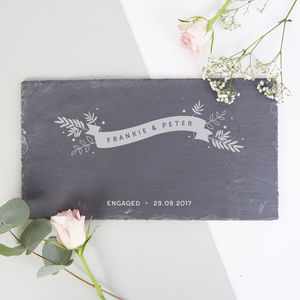Engagement Gift For Couple Slate Serving Board