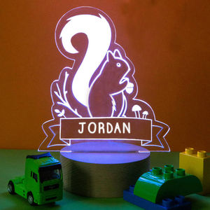 Personalised Squirrel Children's Night Light - furnishings & fittings