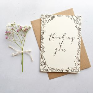 'Thinking Of You' Modern Calligraphy Card - get well soon cards