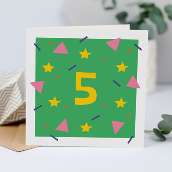 5th Birthday Card, Unisex Card For Five Year Old