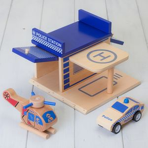 Wooden Construction Toy Police Station Playset