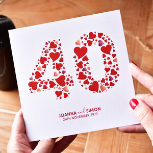 Personalised Love Hearts Ruby 40th Anniversary Card