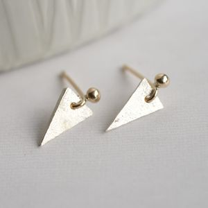 Handmade Silver And 9ct Gold Triangular Earrings