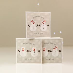 1st Married Christmas Card Snowman Couple - winter sale