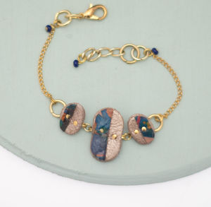 Supernova Marbled Leather Pebble Cutout Bracelet