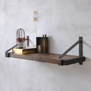 Manhattan Industrial Wood Shelf - shelves