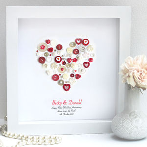 Personalised Ruby Anniversary Heart Art Gift