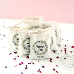 Personalised Wedding Wreath 'Thank You' Favour - favour bags, bottles & boxes