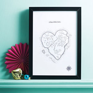 Heart Map Personalised Hand Drawn Print - drawings & illustrations