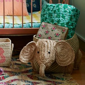 Natural Raffia Animal Storage Basket Elephant - toy boxes & chests