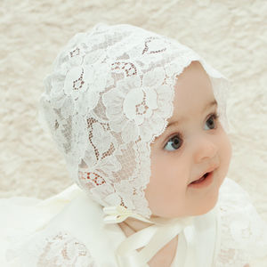 Sheer Lace Christening Bonnet Holly - babies' hats