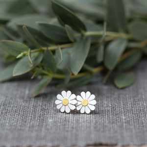 Teeny Daisy Earrings In Solid Silver And 18ct Gold - flower girl gifts
