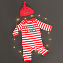 'Raised By Elves' Stripy Christmas Romper