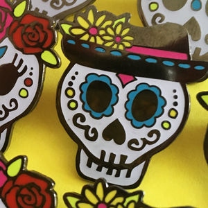 Day Of The Dead Sugar Skull Enamel Pins