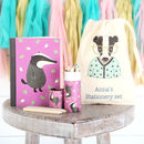 Badger Stationery Set With Personalised Bag