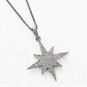 Pave Set Diamond Large Eight Point Star Necklace