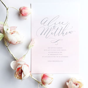 Blush Pink Watercolour Effect Wedding Invitation - pretty pastels