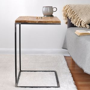 Reclaimed Wood And Steel Side Table - side tables