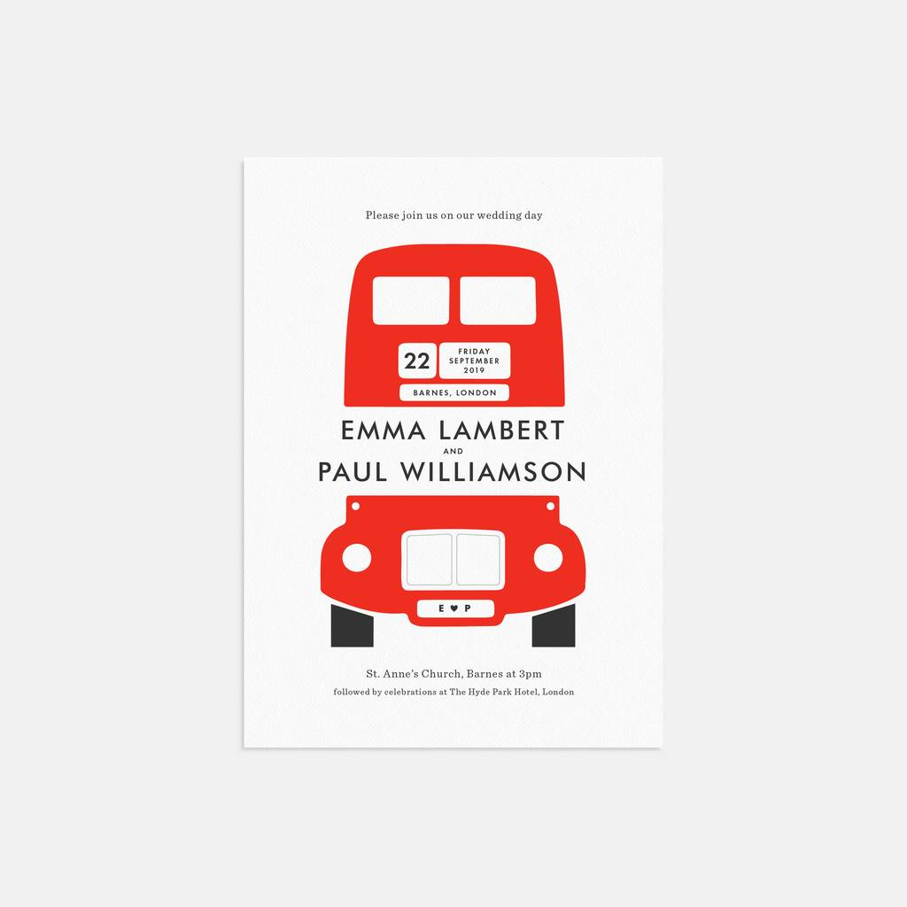 london bus personalised wedding invitation by lola\'s paperie ...