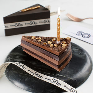 Milestone Birthday Chocolate Cake Slice With Candle - chocolates & truffles