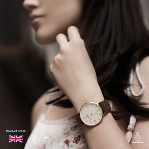 Ladies Harris Tweed Brown Carloway Rose Gold Watch - watches