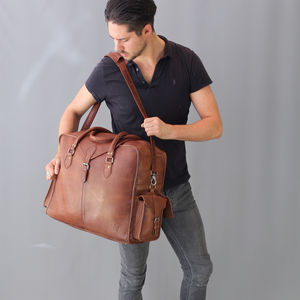 Extra Large Distressed Vintage Style Leather Cabin Bag - mens