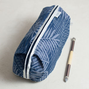 Bella Make Up Bag In Blue Leaf Print
