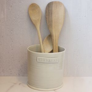 Hand Thrown Porcelain Utensil Pot - utensil holders