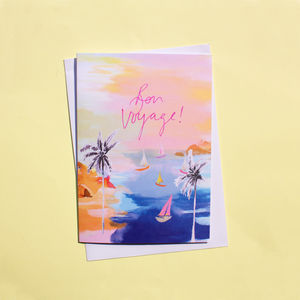 Sorbet Beach 'Bon Voyage!' Greetings Card - good luck cards