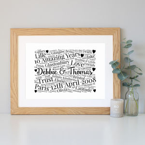 Personalised 10th Anniversary Word Art Gift
