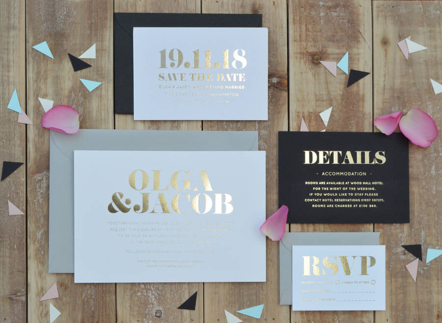 classic foiled wedding invitation by annie nettle ...