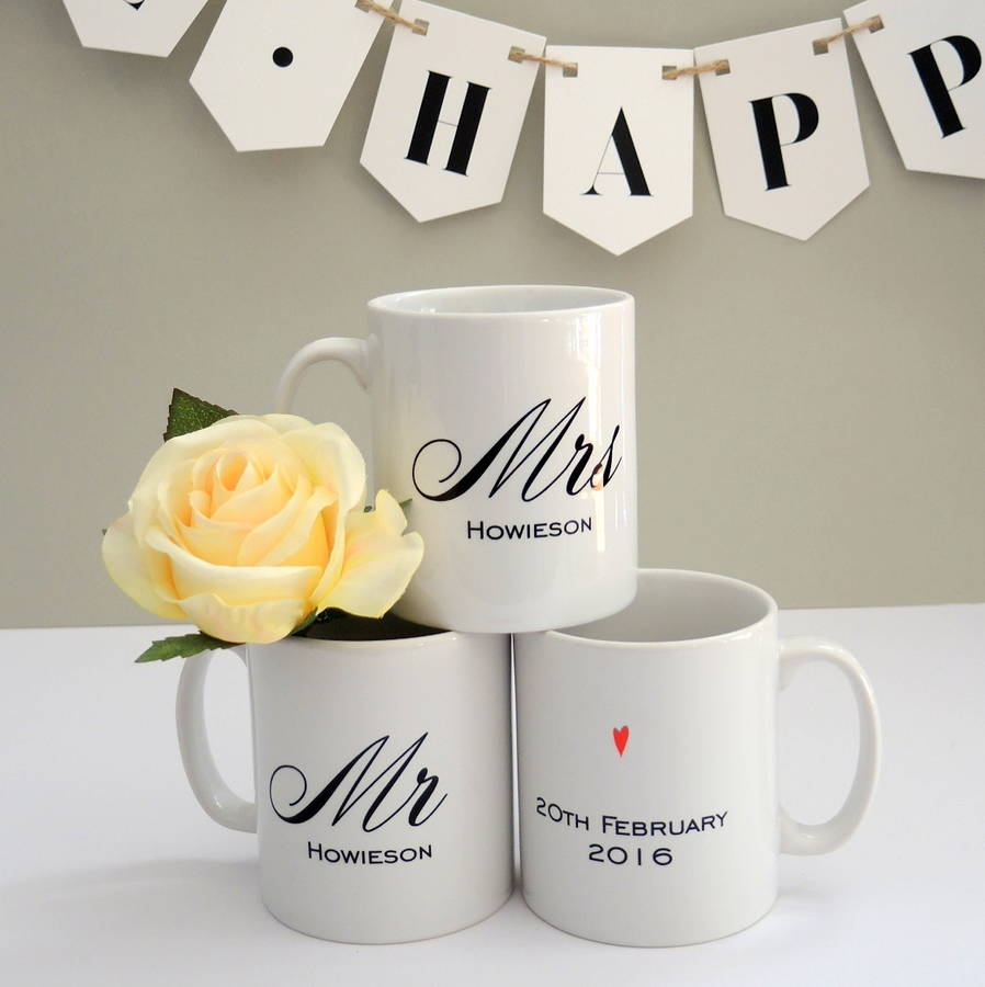 personalised mr and mrs wedding mugs by the alphabet gift shop ...
