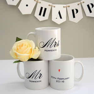 Personalised Mr And Mrs Wedding Mugs - mugs