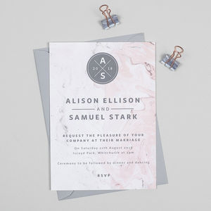 Pink And Grey Marble Wedding Invitations
