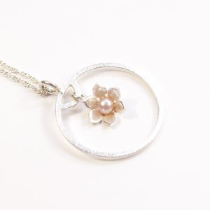 Silver And Pearl Star Flower Frame Medium Pendant - necklaces & pendants