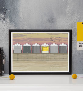 Beach Huts Sunset Architectural Print - canvas prints & art