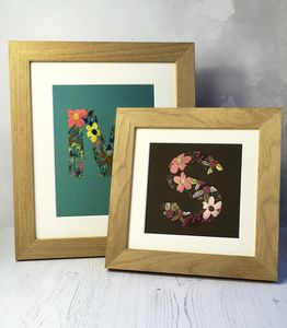 Framed Hand Embroidered Initial Six Colours Available - typography