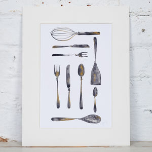 Cutlery And Kitchen Utensil Grid Print - food & drink prints