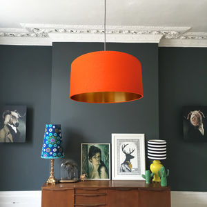 Gold Lined Lampshade In Tangerine With Metallic Linings