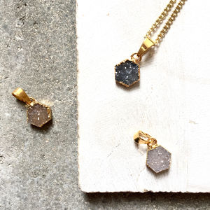 Drusy Mini Hexagon Pendant Necklace - necklaces & pendants