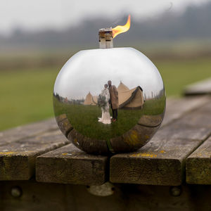 Round Ball Stainless Steel Garden Oil Lamp - lighting