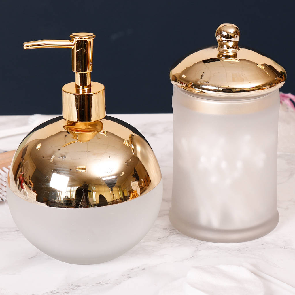 contemporary frosted glass and gold plated bathroom set