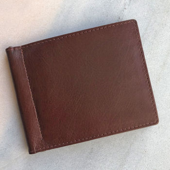 Men's Brown Leather Money Clip Wallet