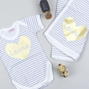 Personalised Baby Grow And Blanket Gift Set - baby's room