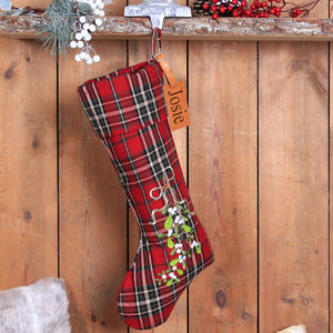 Personalised Country Style Tweed Christmas Stocking - christmas sale