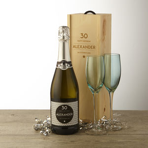 30th Birthday Personalised Prosecco And Wooden Gift Box